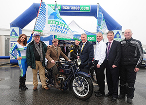 Departure from Dublin with Gary Walker on Henderson, Geoff Hill and Adelaide Insurance Services director Sam Geddis (first right of bike).