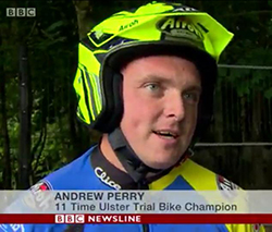 BBC Newsline photo moto trial ni Andy Perry