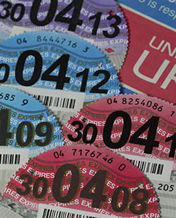 Car Registration Certificate with Car Tax Discs